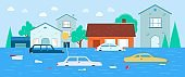 Houses and transport flooding under water flat vector illustration background.