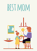 Best mom card with mother teaches daughter to draw flat vector illustrations.