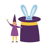 Child girl near huge hat for magic trick, flat vector illustration isolated.