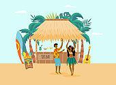 Hawaiian ocean coast with characters and beach bar, flat vector illustration.