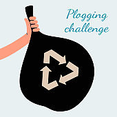 Plogging challenge poster - hand holding black trash bag with recycling symbol