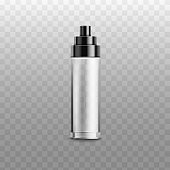 Empty glass spray bottle for cosmetic product isolated on white background