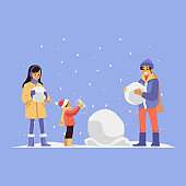 Happy family making snowman together, flat vector illustration on blue.