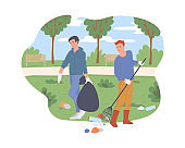 People cleaning city green park from trash, flat cartoon vector illustration