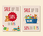 Set of two banners or flyers for the sale of toys.