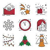 Set of flat christmas icons.