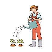 Cartoon farmer woman watering small plants isolated on white background