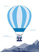 Business people with spyglasses on hot air balloon a vector illustration