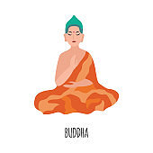 Meditating buddha indian lord character, flat vector illustration isolated.