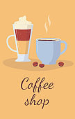 Coffee shop poster or banner with coffee beverages flat vector illustration.