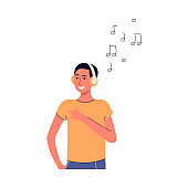 Cheerful young man in earphones cartoon character enjoying music, flat vector illustration isolated.