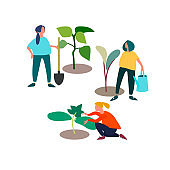 People planting and taking care of seedlings vector illustration. Spring and early summer working concept