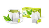 Green mint tea bag packaging 3d mockup, realistic vector illustration isolated