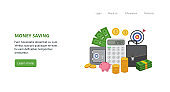 Concept of financial stability and management money a vector landing page template
