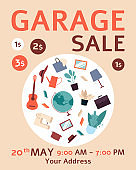 Flat garage sale ad poster with bunch of furniture and decor stuff