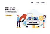 Fuel economy website with people refueling car flat vector illustration.