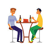 Men, friends or colleagues drinking beer, flat vector illustration isolated.