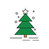 Christmas tree icon on white background.