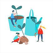 People transplanting seedlings vector illustration in flat style. Spring agricultural work concept. Agritourism concept