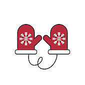 Christmas warm gloves with snowflake on white background.