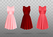 Red and pink dress set - realistic vector illustration isolated on transparent background