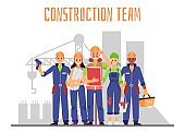 Construction team at building site backdrop, flat vector illustration isolated.