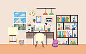 Vector flat illustration of workplace in study room