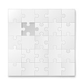 White blank jigsaw puzzle pieces template realistic vector illustration isolated.