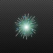 Holiday event firework blue element realistic vector illustration isolated.