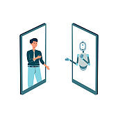 Man communicates with a chat bot online a flat isolated vector illustration