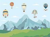 Hot air balloons flying over mountain landscape - cartoon banner