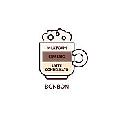 Bonbon coffee drink type icon with layers cartoon vector illustration isolated.