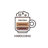 Marocchino coffee beverage kind with milk, cartoon vector illustration isolated.