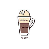 Glace coffee mix drink with espresso and ice cream vector illustration isolated.