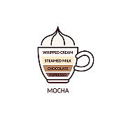 Mocha type of coffee and chocolate drink, cartoon vector illustration isolated.