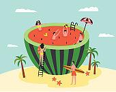 Watermelon swimming pool - cartoon people on tropical summer island