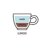 Lungo coffee drink with espresso in cup cartoon vector illustration isolated.