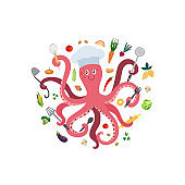 A cartoon pink octopus chef cook a vector isolated illustration