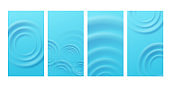 Set of banners with circle ripples on blue water, realistic vector illustration.