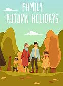 Family walks in the autumn Park.