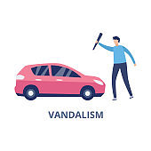 Car vandalism with man hitting automobile, flat vector illustration isolated.