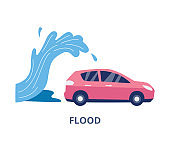 Flood and natural disaster car insurance flat vector illustration isolated.