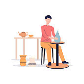 Ceramist making clay vase on pottery wheel, flat vector illustration isolated.
