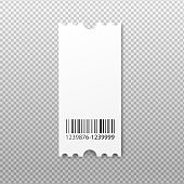 Blank cardboard ticket with barcode, realistic vector illustration isolated.