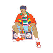 Cartoon man in 80-s retro fashion clothes sitting on boom box