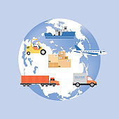 Earth globe symbol with icons of transport flat vector illustration isolated.