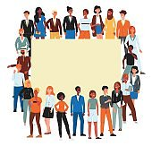 Crowd of diverse nations and gender people characters flat vector illustration isolated.