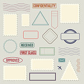 Postage stamp template set - isolated vintage blank sticker collection