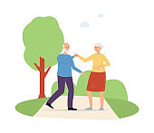 Elderly active people dancing and having fun flat vector illustration isolated.
