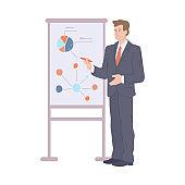 Man making business presentation, flat cartoon vector illustration isolated